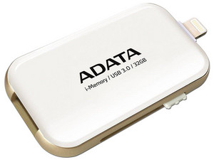 Unidad Flash USB 3.0/Lightning ADATA i-Memory para iPhone y iPad de 32 GB. Color Blanco.