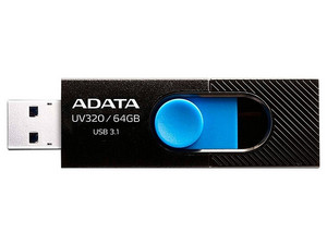 Unidad Flash USB 3.0 ADATA UV320  de 64 GB. Color Negro/Azul