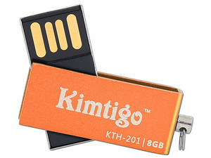 Unidad Flash USB 2.0 Kimtigo KTH-201 de 8GB. Color Naranja.