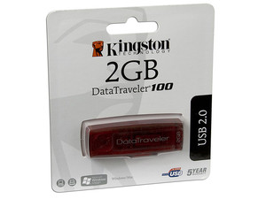 Unidad Flash USB 2.0 Kingston DataTraveler 100 de 2GB. Color Roja
