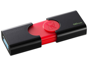 Unidad Flash USB Kingston Datatraveler 106, 16GB. Color negro/rojo.