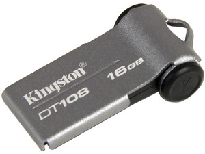 Unidad Flash USB 2.0 Kingston DataTraveler 108 de 16GB. Color Plata
