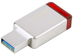 Unidad Flash USB 3.1 Kingston DataTraveler 50 con Elegante y Moderno Diseño de 32GB Color Rojo.