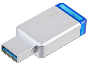Unidad Flash USB 3.1 Kingston DataTraveler 50 con Elegante y Moderno Diseño de 64GB. Color Azul