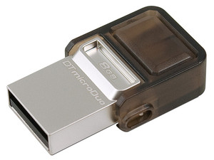 Unidad Flash USB 2.0/microUSB Kingston DataTraveler microDuo OTG de 8 GB.