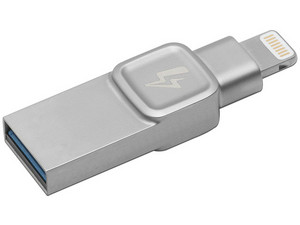 Unidad Flash USB 3.0/Lightning Kingston Bolt Duo para iPhone y iPad de 128 GB. Color Gris.