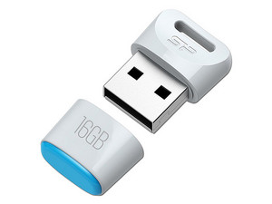 Unidad Flash USB 2.0 Silicon Power Touch T06 de 16 GB. Color Blanco.