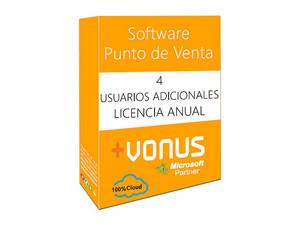 Cuatro Usuarios adicional Vonus Software Punto de Venta en la nube (1 año).