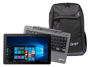 """Laptop 2 en 1 GHIA Detachable Due2: Procesador Intel Atom x5-Z8350 (hasta 1.92 GHz), Memoria de 2GB DDR3, Disco Duro de 32GB, Pantalla de 10.1\"""" LED Multi Touch, Unidad Óptica No Incluida, S.O. Windows 10 Home (64 Bits)."""