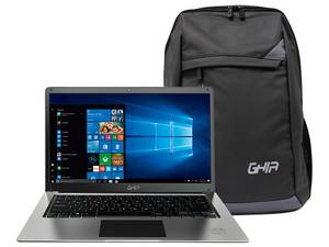 "Laptop GHIA Libero E: Procesador Intel Celeron N3350 (hasta 2.40 GHz), Memoria de 4GB DDR3L, Almacenamiento eMMC de 64GB, Pantalla de 14\"" LED, Video HD Graphics 500, Unidad Óptica No Incluida, S.O. Windows 10 Home (64 Bits) + Mochila."