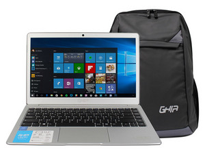 "Laptop GHIA Libero SL: Procesador Intel Pentium N4200 (hasta 2.50 GHz), Memoria de 4GB DDR3L, Almacenamiento eMMC de 32GB, Pantalla de 13.3\"" LED, Video HD Graphics 505, Unidad Óptica No Incluida, S.O. Windows 10 Home (64 Bits) + Mochila."