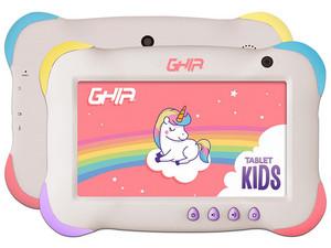 "Tablet GHIA 7 KIDS: Procesador Quad Core A50 hasta (1.50GHz), Memoria RAM de 1GB, Almacenamiento de 16GB, Pantalla LED Multi touch de 7\"", Cámara: Principal 2MP, Frontal 0.3MP, Wi-Fi, Bluetooth, Android 9 (Go Edition), Color Violeta."