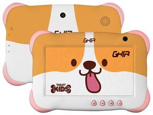 "Tablet GHIA 7 Kids 2020: Procesador Quad Core A50 (1.50 GHz), Memoria RAM de 1GB, Almacenamiento de 16GB, Pantalla LED Multi Touch de 7\"", Wi-Fi 4, Bluetooth 4.0, Android 9 (Go Edition)."