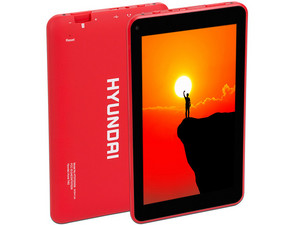 "Tablet Hyundai Koral 7W2: Android 7.0 Nougat, Procesador Quad Core (1.3 Ghz), Memoria RAM de 1GB, Almacenamiento 8GB, Pantalla IPS Multi-Touch de 7\"", Red 802.11 b/g/n, Bluetooth. Color Rojo."