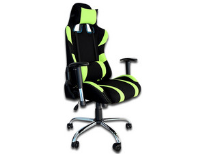 Silla Gaming Naceb Viper reclinable hasta 180°. Color Negro/Verde.