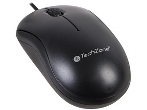 Mouse óptico TechZone TZMOU01 de hasta 800dpi, USB. Color Negro