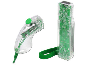 Control Wii Remote AW.1 y Nunchuck Afterglow AW.2 para Wii. Color Verde
