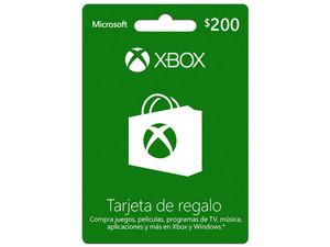 Tarjeta de regalo Microsoft Xbox Live de $200 mxn.