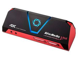 Capturadora de Vídeo Avermedia Live Gamer Pórtatil 2 Plus, USB, HDMI, 4K.