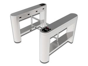 Control de Acceso ZKTeco SB01FP, con barreras de oscilación de acero inoxidable y dos lectores de huella.