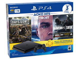 Consola PlayStation 4 Hits Bundle 5 de 1 TB, incluye Days Gone, Detroit: Become Human y Rainbow Six Siege.