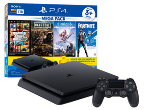 Consola PlayStation 4 Mega Pack 6 de 1 TB, incluye juegos Days Gone, Horizon Zero Dawn Complete Edition, Grand Theft Auto V Premium Edition.