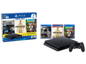 Consola PlayStation 4 Mega Pack 7 de 1 TB, incluye juegos Uncharted Collection, Call of Duty Modern Warfare, y Crash Bandicoot NSane Trilogy.