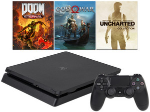 Consola Sony PlayStation 4 de 1TB con 1 control, Megapack. Incluye DOOM Eternal Standard Edition, God of War y UNCHARTED The Nathan Drake Collection.