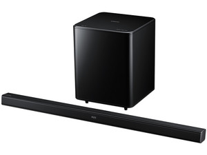 Sound Bar 2.1 Samsung HW-F550, Sonido Dolby Digital, potencia 310W, HDMI, USB, Bluetooth.