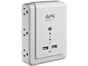 Supresor de picos APC Essential SurgeArrest P6WU2 de 1080J con 6 contactos y USB. Color Blanco.