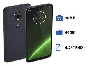 "Smartphone Motorola Moto G7 Plus: Procesador Snapdragon 632 Octa Core (1.8 GHz), Memoria RAM de 4GB, Almacenamiento de 64GB, Pantalla LED Multi Touch 6.24\"" FHD+, Bluetooth, Wi-Fi, Cámara principal de 16 MP, Android 9.0 Pie."