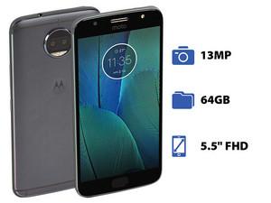 "Smartphone Motorola G5S Plus: Procesador Octa core (2.0GHz), Memoria RAM de 4GB, Almacenamiento de 64GB, Pantalla LED de 5.5\"" FHD, Bluetooth, Wi-Fi, 4G, Cámara Principal de 13MP, Android 7.1. Color Gris."