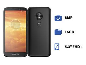 "Smartphone Motorola Moto E5 Play: Procesador Snapdragon 425 Quad Core (1.40 GHz), Memoria RAM de 1GB, Almacenamiento de 16GB, Pantalla LED Multi Touch de 5.3\"", Wi-Fi 4, Bluetooth 4.2, 4G, Nano SIM, Cámara principal de 8MP, Android 8.0."