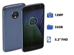 "Smartphone Motorola Moto G5 Plus: Procesador Octa Core (hasta 2.0 GHz), Memoria RAM de 2GB, Almacenamiento de 32GB, Pantalla LED Multi Touch de 5.2\"" FHD, Bluetooth 4.2, Wi-Fi, Cámara principal de 12 MP, Android 7.0 Nougat."