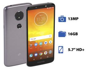 "Smartphone Motorola Moto E5: Procesador Quad Core (1.4 GHz), Memoria RAM de 2GB, Almacenamiento de 16GB, Pantalla LED Multi Touch de 5.7\"" HD+, Bluetooth, Wi-Fi, 4G, Nano SIM, Cámara principal de 13 MP, Android 8.0 Oreo."