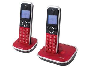 Kit 2 Teléfonos inalámbricos Motorola DECT GATE4800 con identificador de llamadas. Color Rojo.