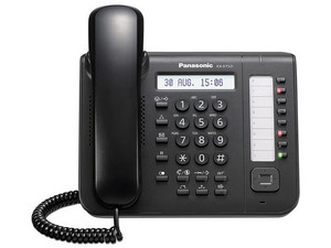 Teléfono Alámbrico Panasonic KX-DT521 con 8 teclas programables. Color Negro.