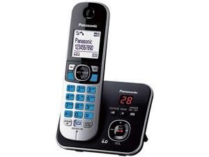 Teléfono Inalámbrico Panasonic KX-TG6821MEB, Unilinea con identificador de llamadas. Color negro.