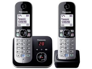 Panasonic Teléfono inalámbrico KX-TG6822MEB, DECT 6.0, Base principal + 1 auricular adicional, Directorio, Bloqueo de llamada, Reloj y alarma, negro