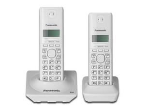 """Teléfono Inalámbrico Panasonic, Tecnología DECT 6.0, Digital, Pantalla LCD 1.25\"""" iluminada, identificador de llamadas. Color blanco"""