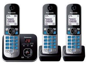 """Teléfono inalámbrico Panasonic, DECT, con base + 2 extensiones, LCD 1.8\"""" en blanco, contestadora, identificador de llamadas, respaldo de alimentación, botón de función inteligente, 100 números en memoria, color negro"""