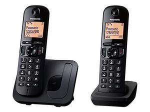 Telefono Inalámbrico DECT Panasonic con dos Auriculares, Bloqueo de llamadas, Sin contestadora, Color Negro.