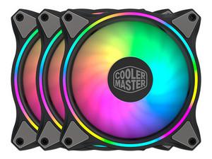 Kit de 3 Ventiladores Cooler Master MF120 Halo de 120mm, iluminación LED RGB direccionable.