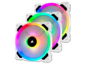 Paquete de 3 ventiladores RGB LED PWM 120 mm LL120 RGB. Color Blanco.