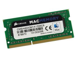 Memoria Corsair SODIMM DDR3 PC3-10600 (1333 MHz), 4 GB. Para Apple iMac, MacBook y MacBook Pro