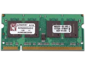 Memoria Kingston SODIMM DDR2 PC2-4200, Non-ECC CL4, 200Pines, 512MB.