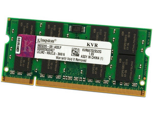 Memoria Kingston SODIMM DDR2 PC2-5300 (667MHz), 2 GB.