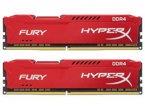 Kit de memorias RAM Kingston Fury HyperX de 32 GB (2 x 16GB), DDR4, 2666 MHz, CL16. Color rojo.
