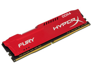 Memoria Kingston HyperX Fury DDR4 PC4-23400 (2933MHz), CL17, 8GB. Color Rojo.