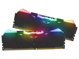 Memoria Patriot Viper RGB DDR4 PC4-28800 (3600MHz), 16GB (2 x 8GB), Kit con dos piezas de 8GB, iluminación RGB. Color negro.